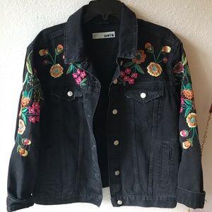 Top shop Embroidered Black Jean Jacket